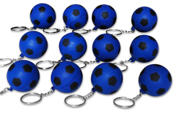 12 Pack Blue Soccer Ball Keychains for Kids Party Favors & School Carnival Prizes