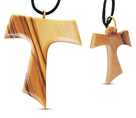 2 piece tau cross large small olive wood necklaces made in 2 piece tau cross large small olive wood necklaces made in bethlehem by novel mozeypictures Image collections