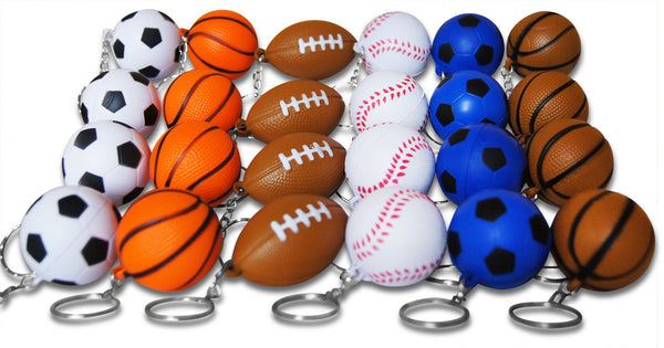Novel Merk 24-Piece Sports Ball Party Favor Keychains & Prizes