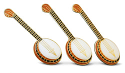 Novel Merk 3-Piece String Banjo Guitar Musician Lapel or Hat Pin & Tie Tack Set with Clutch Back