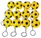 12 Pack Yellow Soccer Ball Keychains for Kids Party Favors & School Carnival Prizes