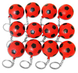 12 Pack Red Soccer Ball Keychains for Kids Party Favors & School Carnival Prizes