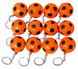 12 Pack Orange Soccer Ball Keychains for Kids Party Favors & School Carnival Prizes