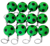 12 Pack Green Soccer Ball Keychains for Kids Party Favors & School Carnival Prizes