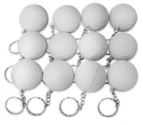 Novel Merk 12 Pack Golf Ball White Keychains for Kids Party Favors & School Carnival Prizes