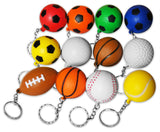 12-Piece Sports Ball Keychains Pack 12 Different Designs