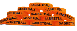 Basketball Black Text Novel Merk 12-Piece Kids Party Favor & School Carnival Prize Silicone Rubber Band Wristband Bracelet Accessory