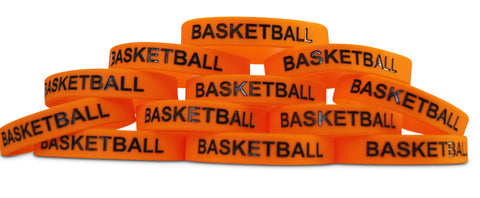 Basketball Black Text Novel Merk 12-Piece Party Favor & School Carnival Prize Silicone Rubber Band Wristband Bracelet Accessory