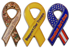 3-Piece Support Our Troops Ribbon Hat, Lapel Pin or Tie Tack with Clutch Back by Novel Merk