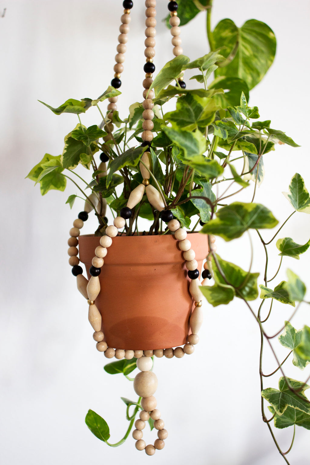 Black Wood Beaded Plant Hanger