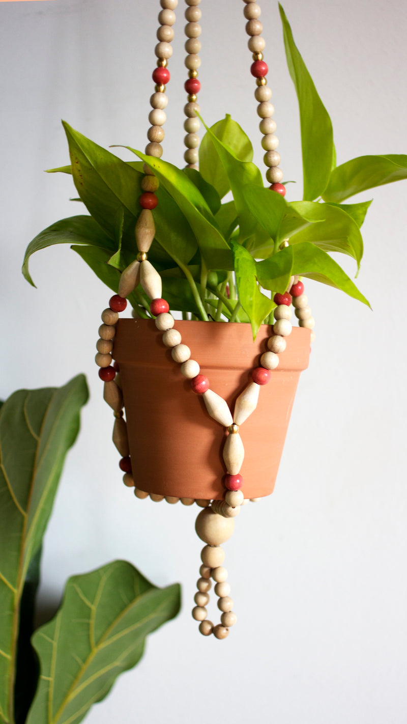 Cranberry Blush Beaded Plant Hanger