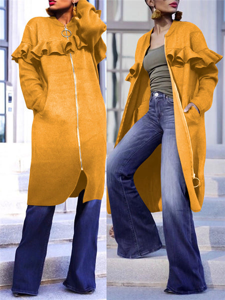 Solid Color Ruffled Pocket Casual Coat