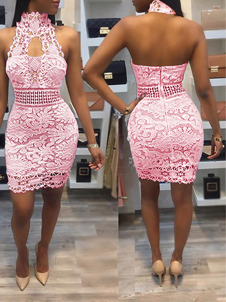 Halter Lace Backless Midi Dress