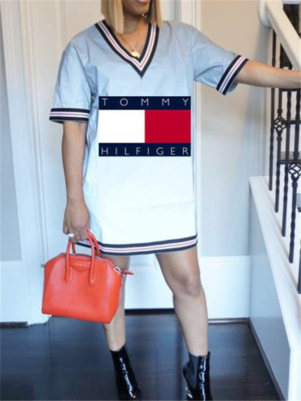 V Neck Letter Print Short Sleeve Casual Dress