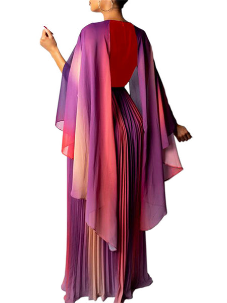 Cape Sleeve V neck Pleated Maxi Dress