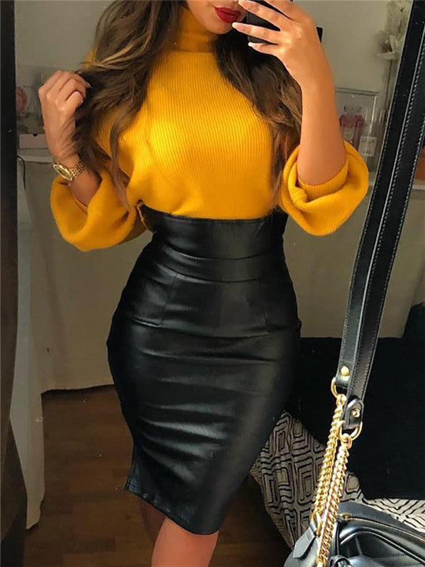 High Waist Fleece Lined PU Leather Skirt