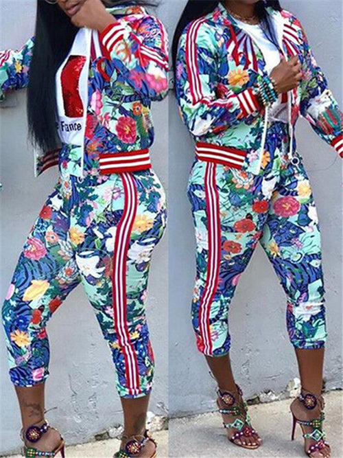 Zip Up Flower Print Hooded Collar Casual Two Piece Outfits