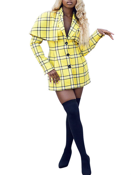 Cape Sleeve Button Up Plaid Mini Dress