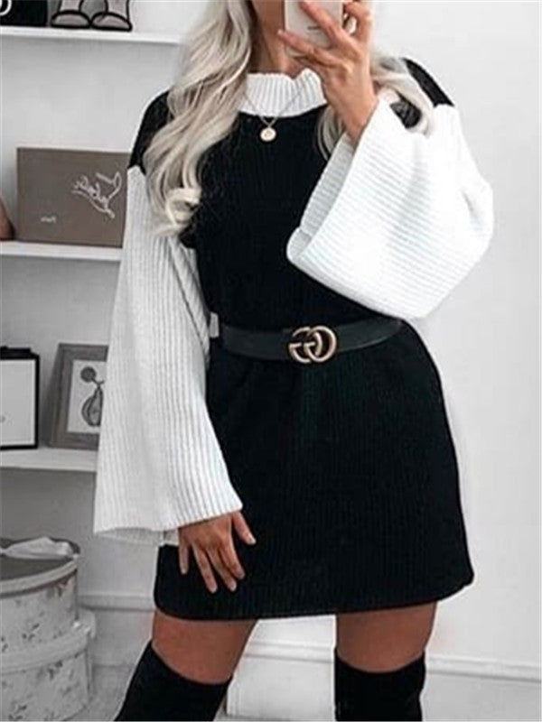 Patchwork Long Sleeve Mini Dress Without Belt