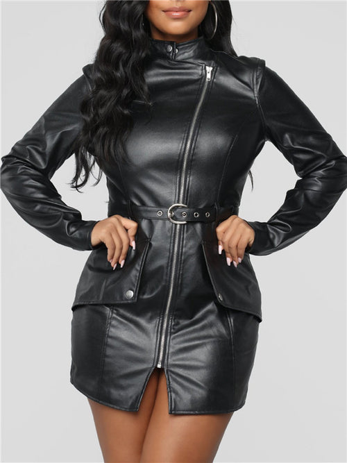 Long Sleeve Zip Up Pocket Belted PU Leather Dress