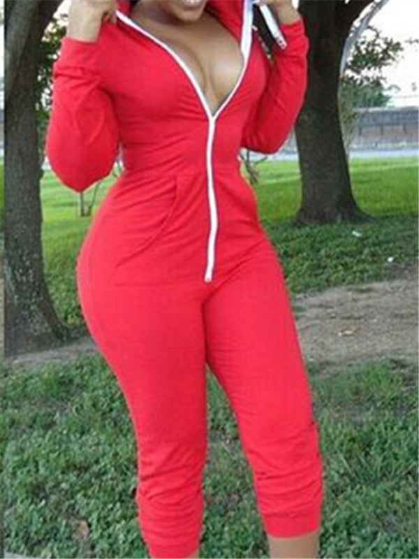 Zip Up Hooded Collar Long Sleeve Casual Jumpsuit
