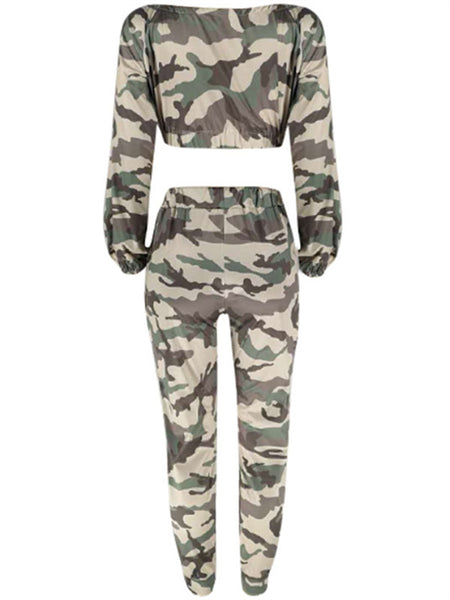 Camouflage Drawstring Waist Pocket Casual Two Piece Outfits
