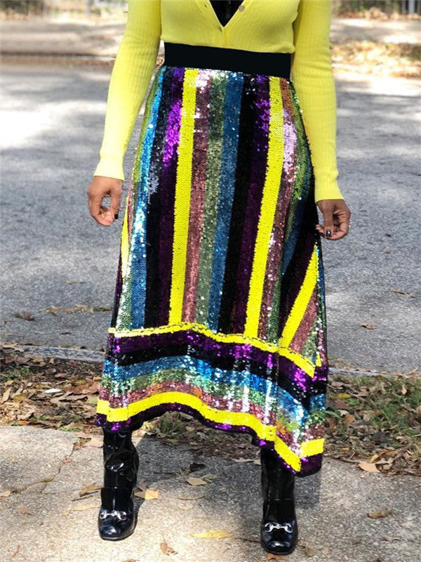 Stripe Sequins Patchwork High Waist Maxi Skirt