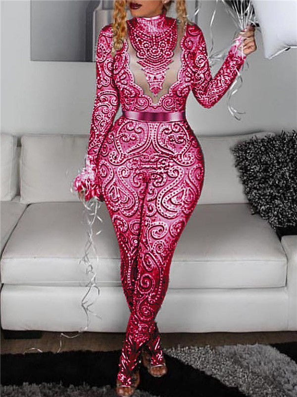 Long Sleeve High Neck Printed Jumpsuit