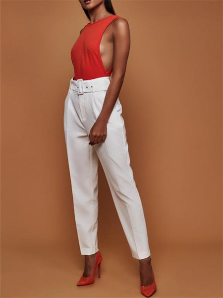 Solid Color High Waist Pocket Pants With Belt