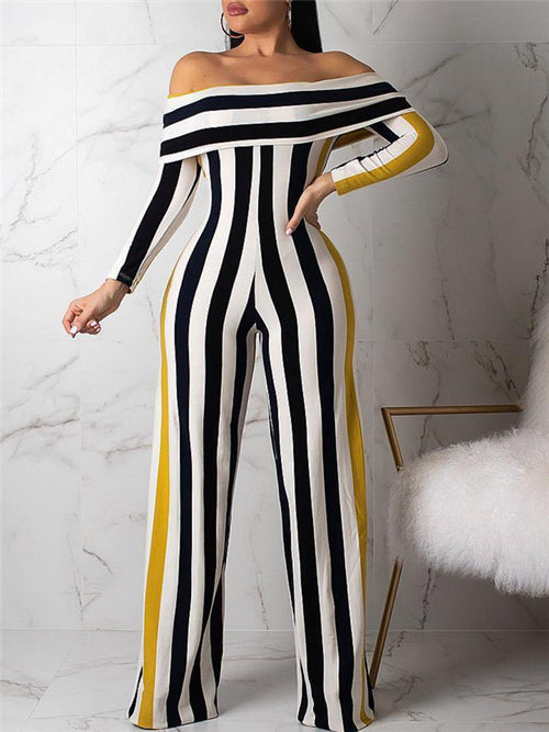 Striped Off the Shoulder Long Sleeve Casual Jumpsuit