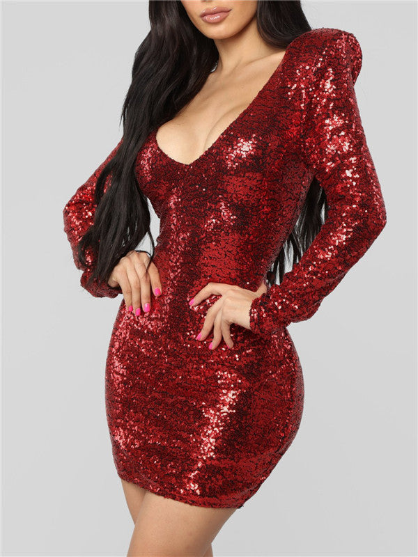 V Neck Long Sleeve Sequined Mini Dress