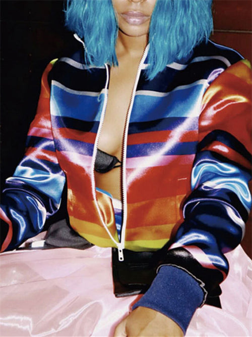 Colorful Stripe Zip Up Long Sleeve Casual Jacket