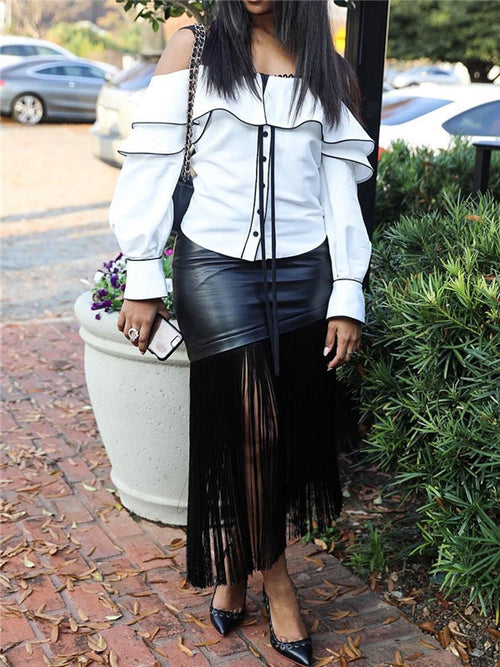 High Waist Tassels Hem Black PU Leather Skirt