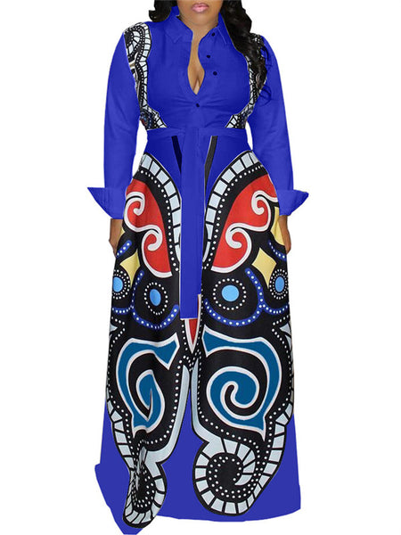 Button Up Long Sleeve Printed Maxi Dress