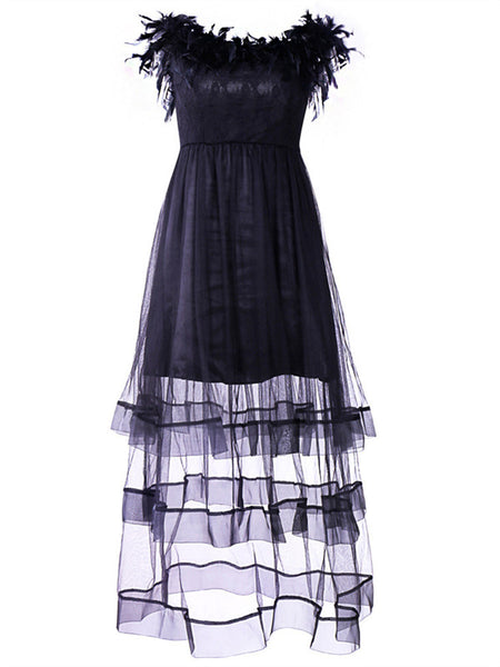 Boat Neck Feather Trim Lace Panel Mesh Prom Dress