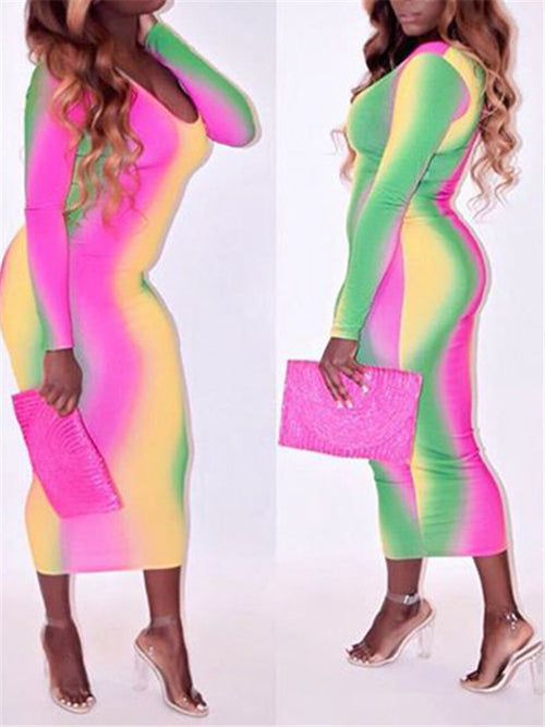 Long Sleeve Round Neck Tie Dye Sheath Dress