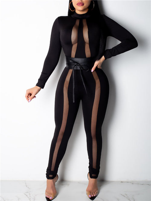 Sexy Semi Sheer Long Sleeve Jumpsuit With Belt