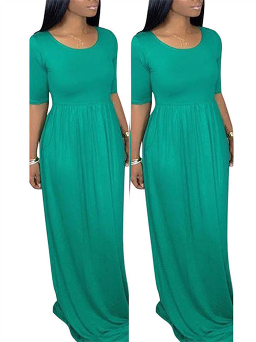 Solid Color High Waist Short Sleeve Maxi Dress