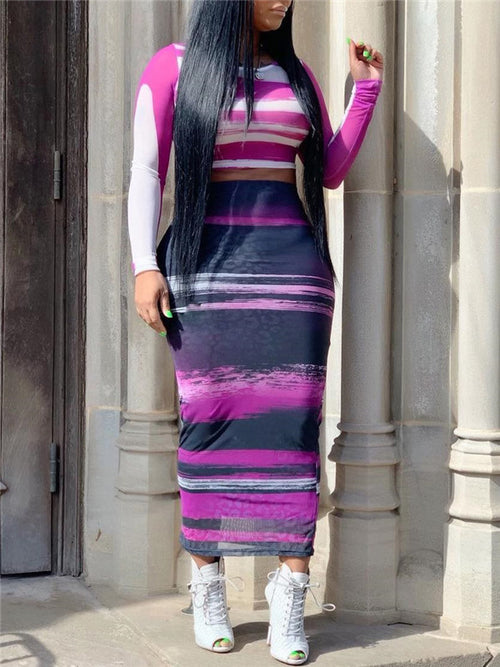 Printed High Waist Long Sleeve Two Piece Dress