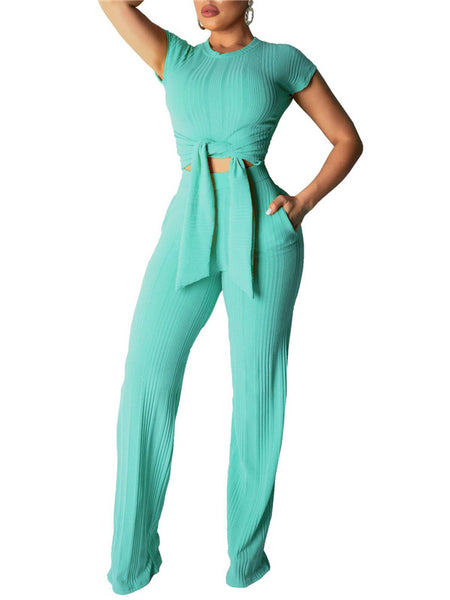 Short Sleeve Solid Color Tie Up Pocket Two Piece Sets