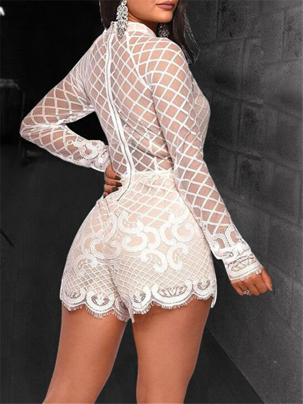 White High Neck Long Sleeve Casual Romper