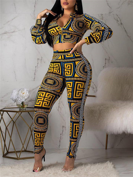 Zip Up Long Sleeve Printed Two Piece Outfits