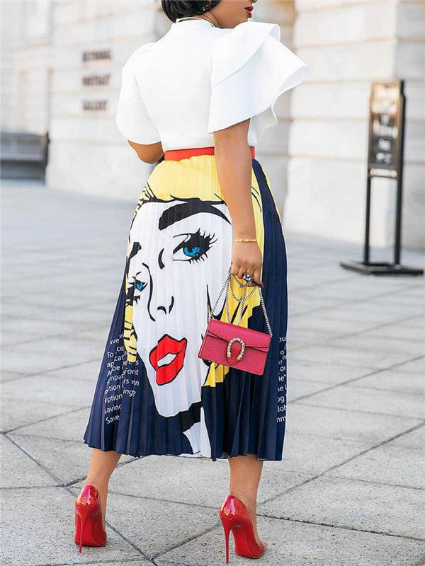 High Waist Character Print Pleated Skirt