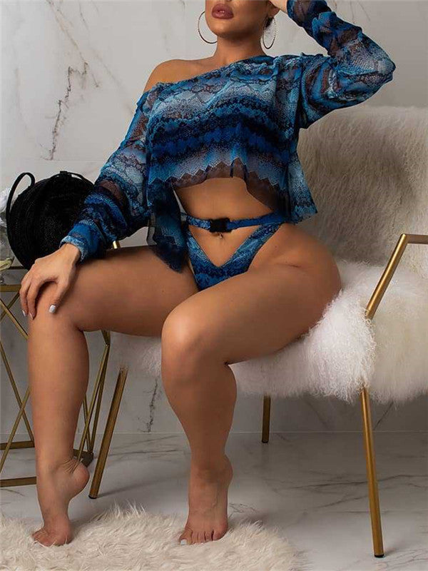 Snake Print Long Sleeve Three Piece Swimwear