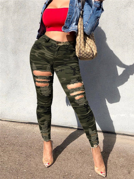Distressed Camouflage Print High Waist Pants