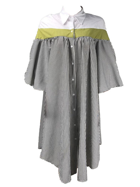 Button Up Stripe Print Casual Shirt Dress
