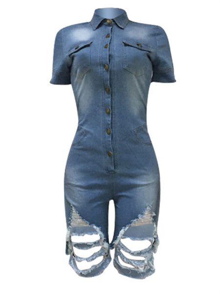 Button Up Short Sleeve Distressed Denim Romper