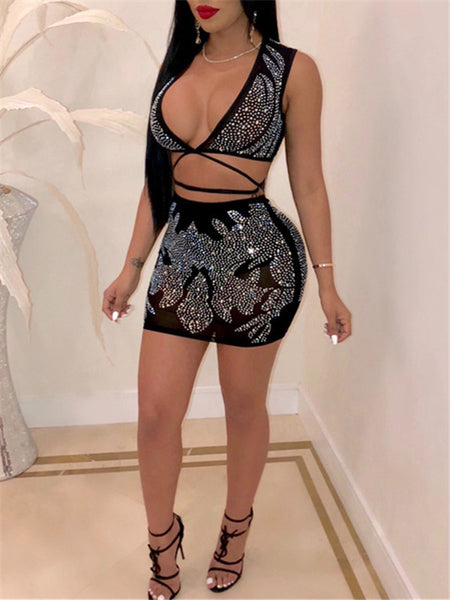 Rhinestone Sleeveless V Neck Sexy Two Piece Dress