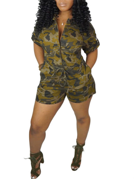 Drawstring Waist Button Up Pocket Camouflage Romper