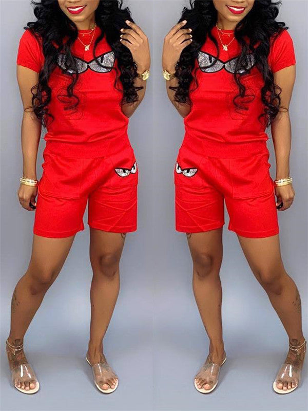 Plus Size Short Sleeve Casual Two Piece Sets
